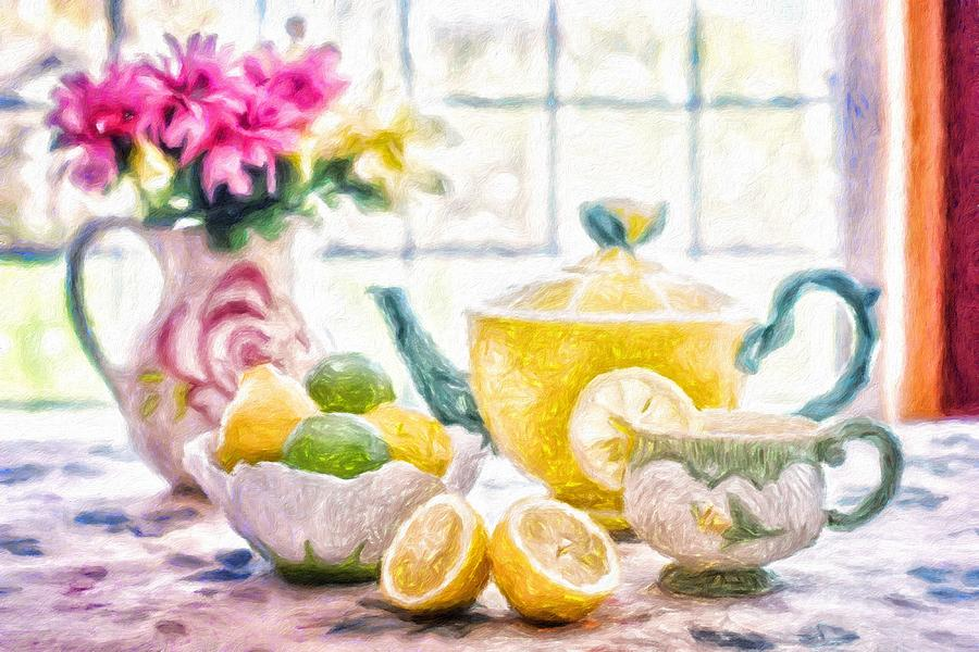 Still Life Painting - Still Life With Lemons by Vincent Monozlay