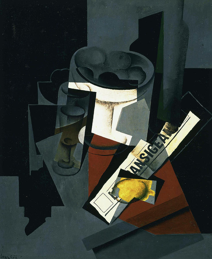 Juan Gris Painting - Still Life With Newspaper, 1916 by Juan Gris