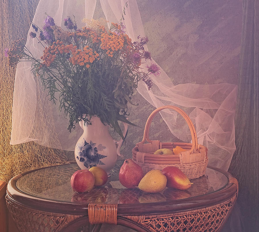 Interior Photograph - Still Life With Pears by Ustinagreen