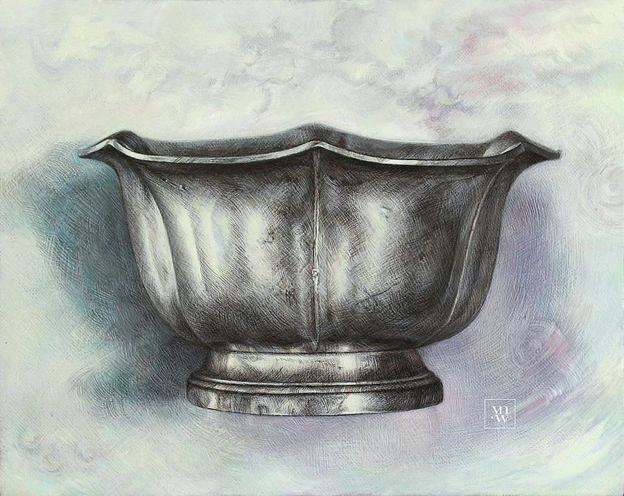 Still Life with Pewter Sugar Bowl  by Yvonne Wright