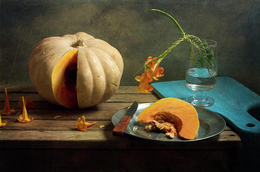 Still Life With Pumpkin And Orange Photograph by Copyright Anna Nemoy(xaomena)