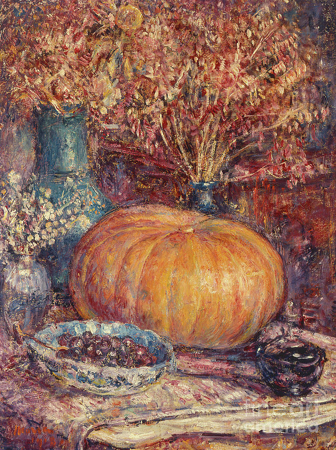 Vertical Painting - Still Life With Pumpkin by George Morren