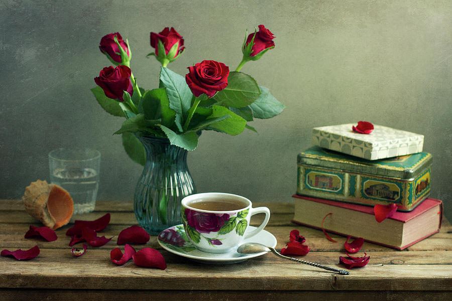 Still Life With Red Roses Photograph by Copyright Anna Nemoy(xaomena)