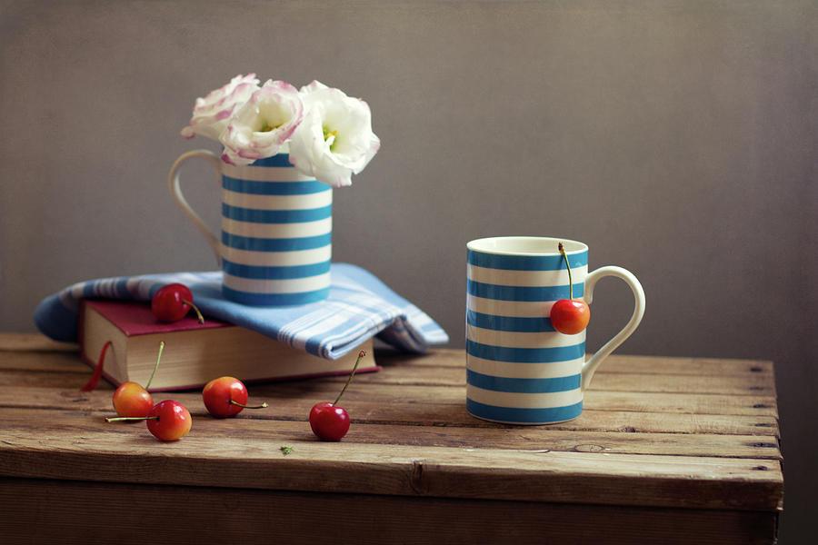 Still Life With Striped Cups Photograph by Copyright Anna Nemoy(xaomena)
