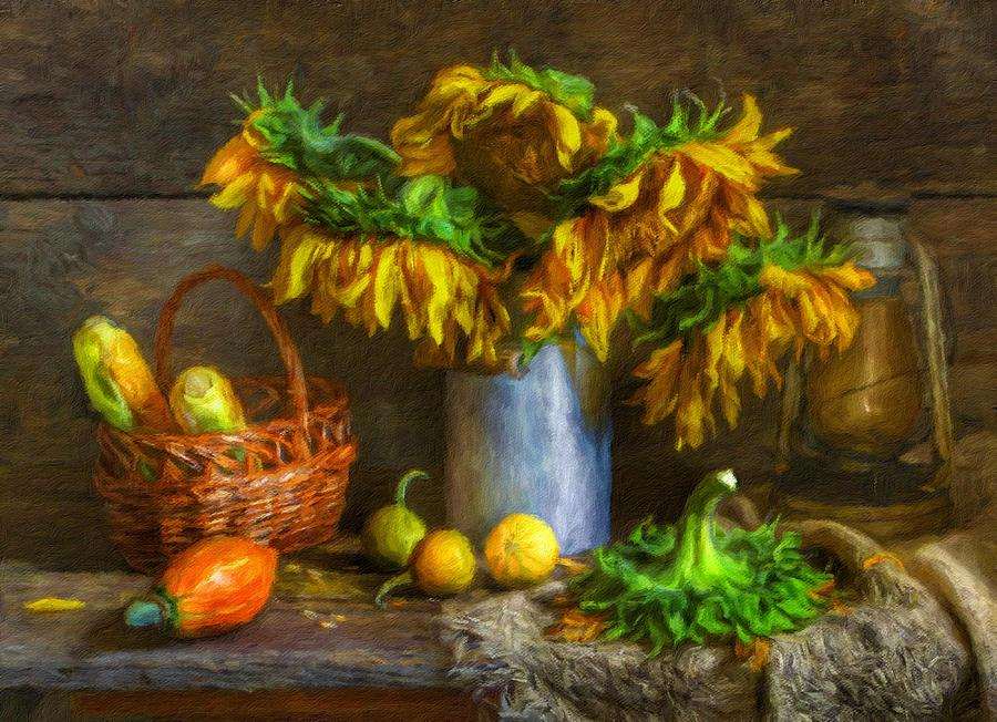 Still Life Painting - Still Life With Sunflowers by Vincent Monozlay
