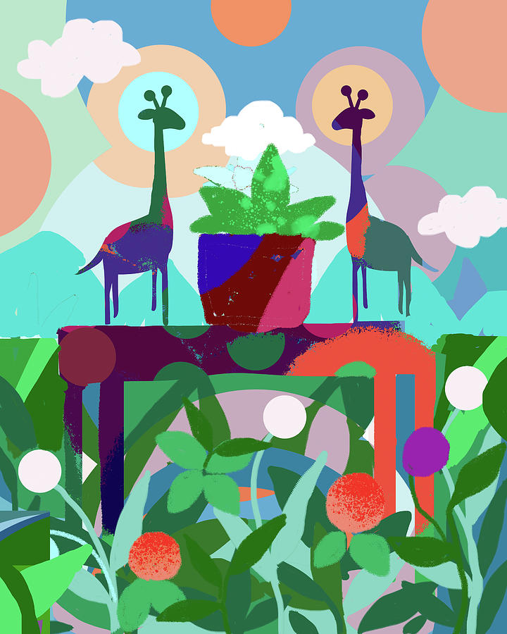 Still Life With Two Giraffes Digital Art By Holly Mcgee
