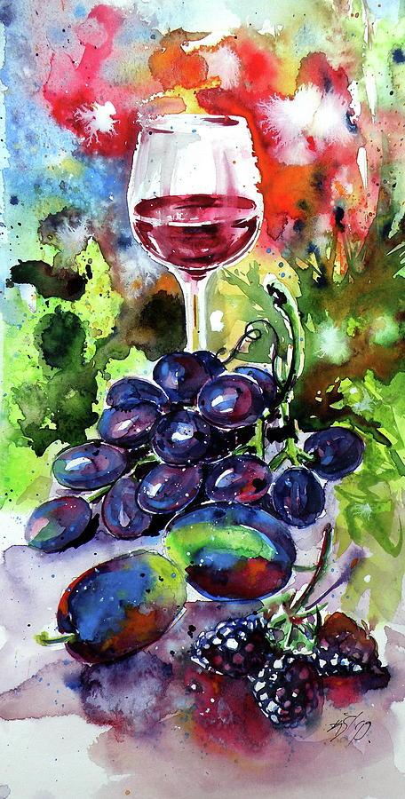 Still Life Painting - Still Life With Wine And Fruits II by Kovacs Anna Brigitta