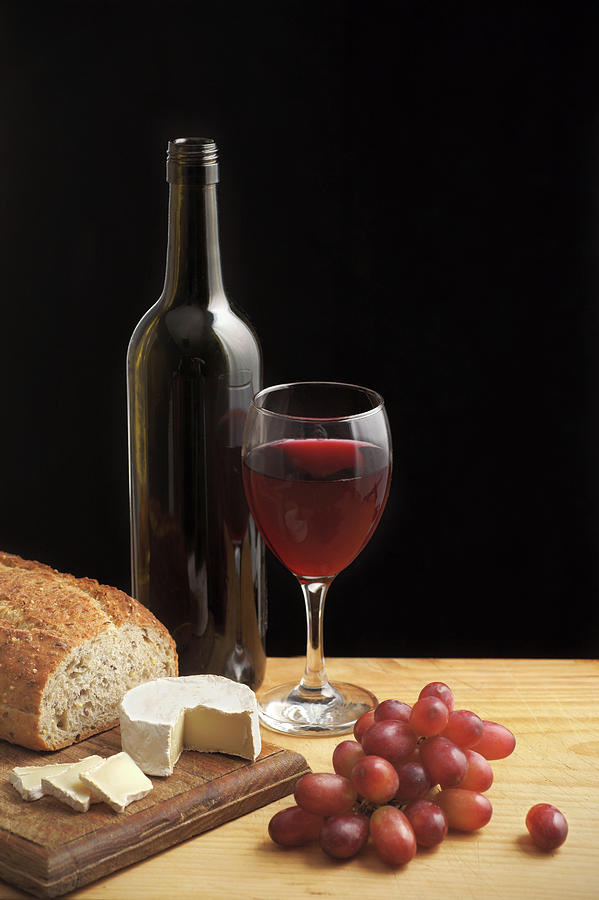 Still Life With Wine Cheese And Grapes Photograph by Oliverchilds
