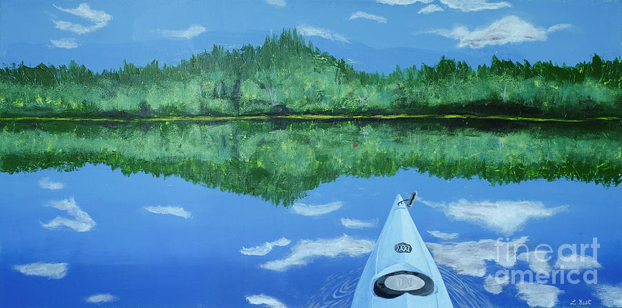 Kayak Painting - Still Reflective by Laurel Best