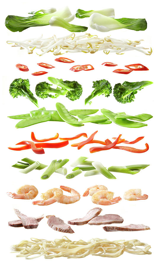 Stirfry Ingredients Separated Into Photograph by Johanna Parkin