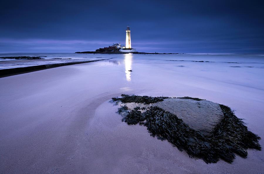 St.marys Lighthouse, Blue Hour Photograph by K.arran - Photomuso