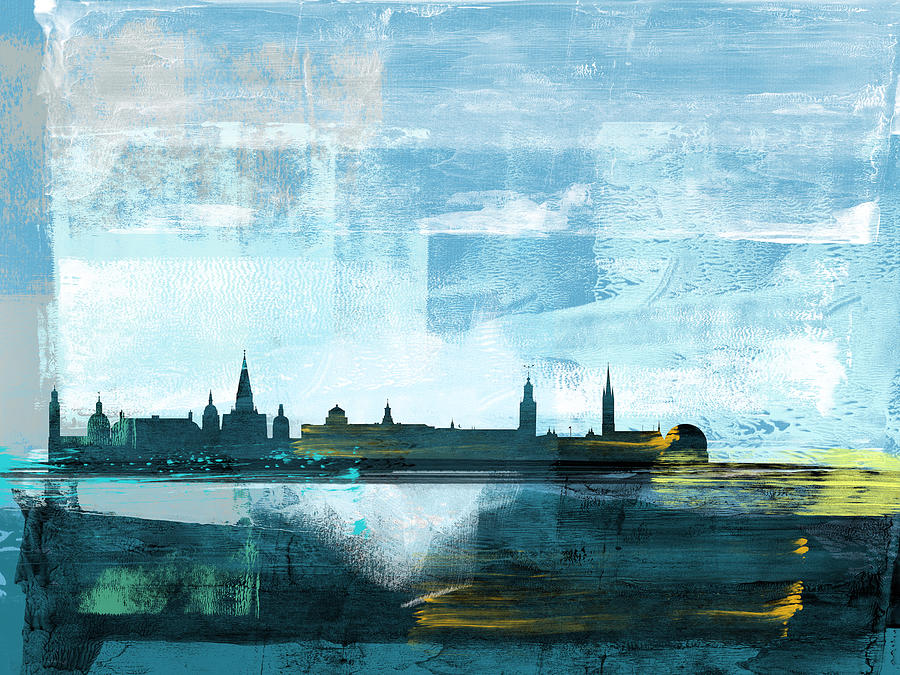Stockholm Mixed Media - Stockholm Abstract Skyline I by Naxart Studio