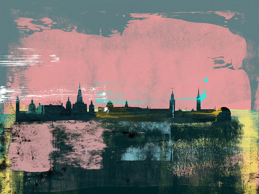 Stockholm Mixed Media - Stockholm Abstract Skyline II by Naxart Studio
