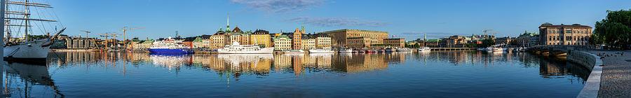 Stockholm Photograph - Stockholm Old City golden hour sunrise reflection in the Baltic Sea by Dejan Kostic
