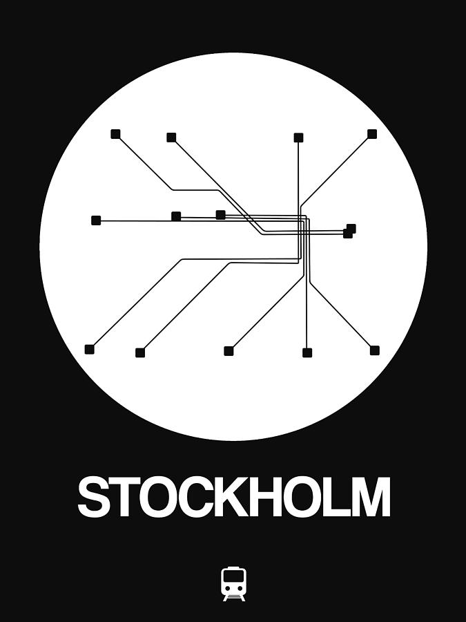 Black And White Subway Map Tapestry.Stockholm White Subway Map By Naxart Studio