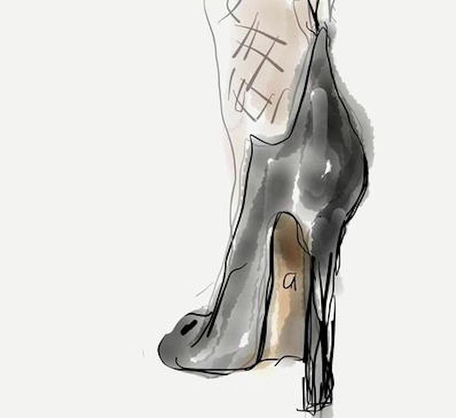 Shoe Painting - Stockings and Stilettos by Angie Stimson