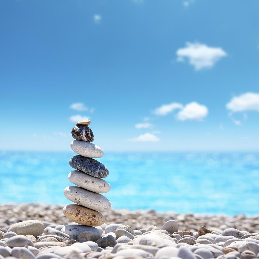 Stone Balance On Beach Photograph by Imagedepotpro