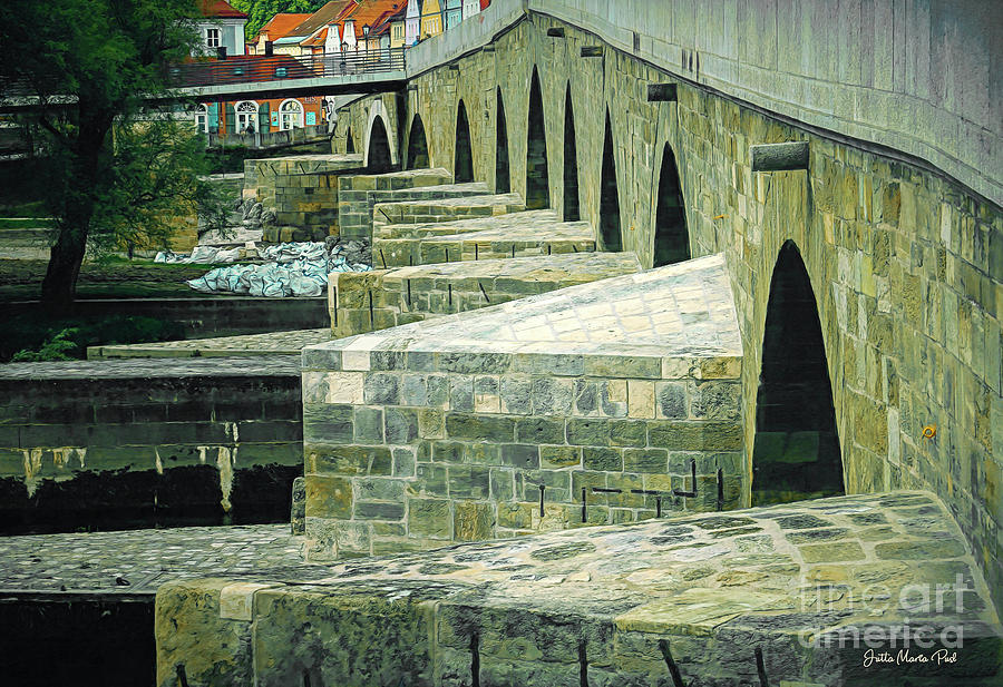 Stone Bridge Regensburg by Jutta Maria Pusl