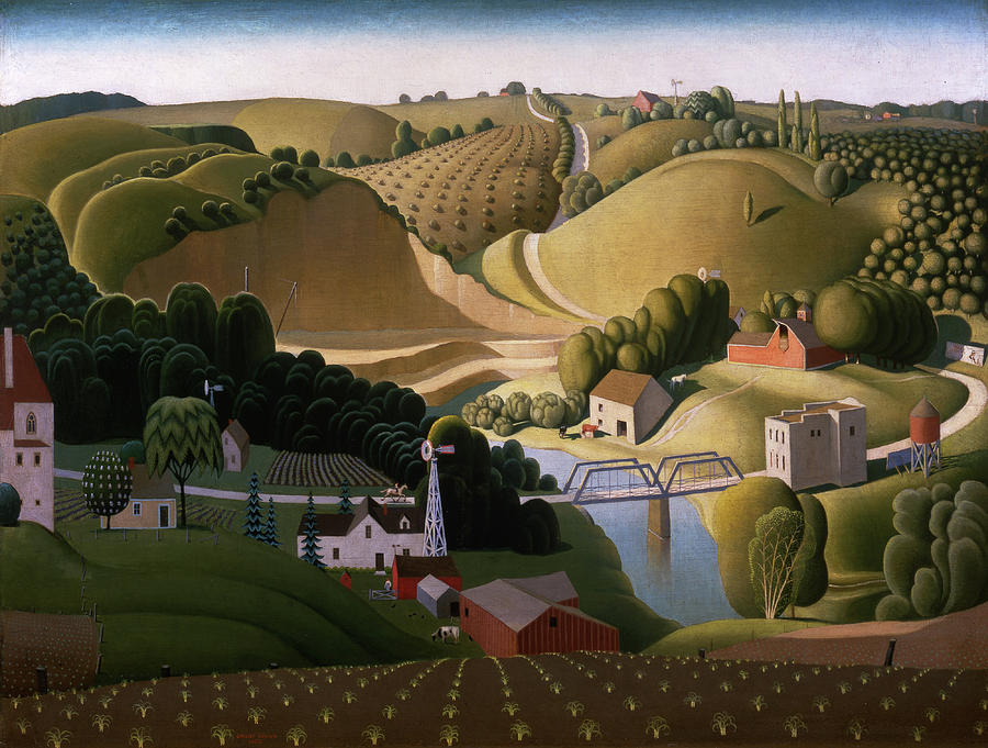 Grant Wood Painting - Stone City, 1930 by Grant Wood