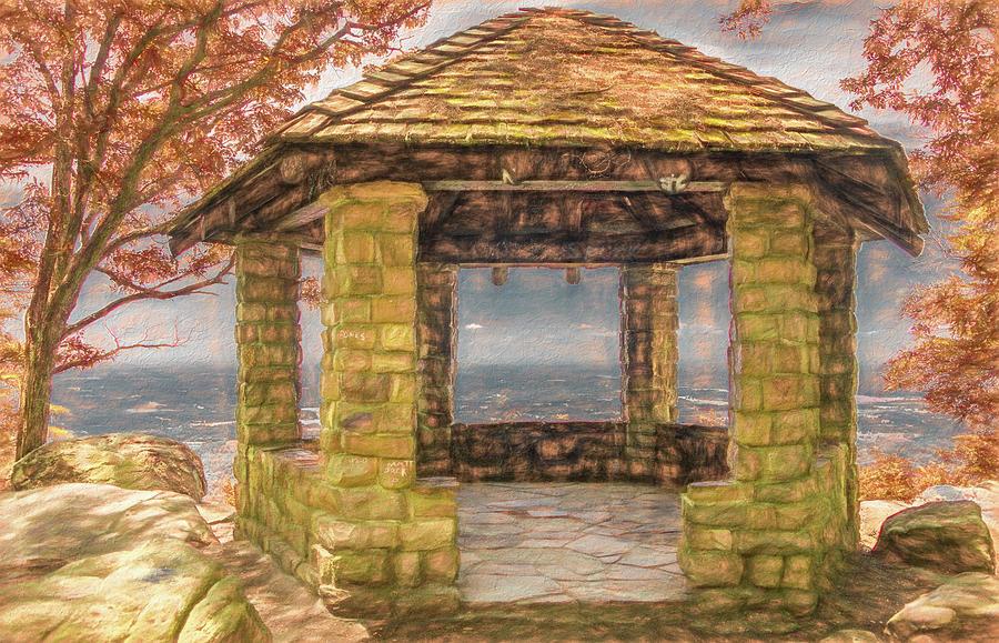 Stone Gazebo Atop Chilhowee Mountain by Marcy Wielfaert