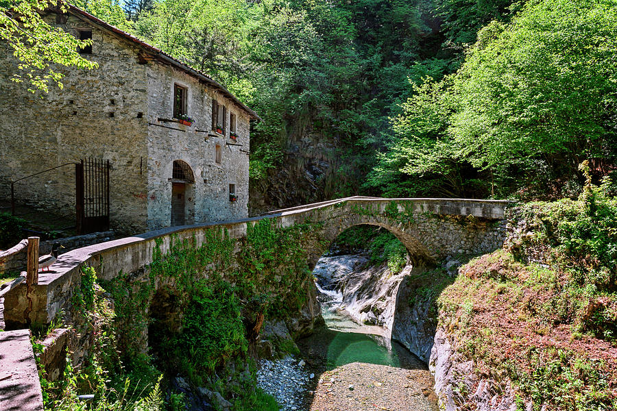 Stone House and Bridge Lake Como Italy by Joan Carroll