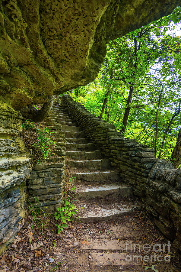 Stone Steps - Clifty Falls Overlook -  Indiana by Gary Whitton