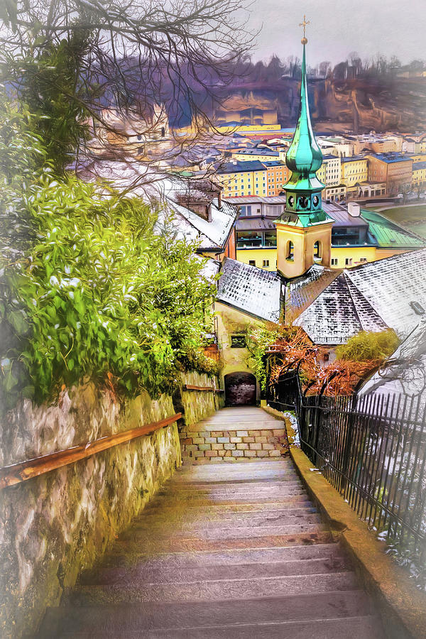 Salzburg Photograph - Stone Steps Of Kapuzinerberg Salzburg In Winter by Carol Japp