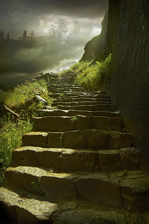 Stone Steps On Rural Hillside Photograph by Chris Clor