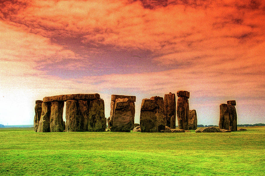 Stonehenge with Red Sky by David Smith