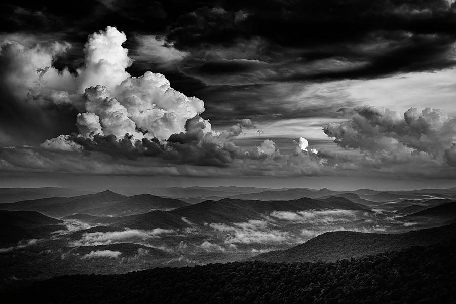 Storm Above the Blue Ridge Mountains NC-BnW GRK4619_0617201 by Greg Kluempers