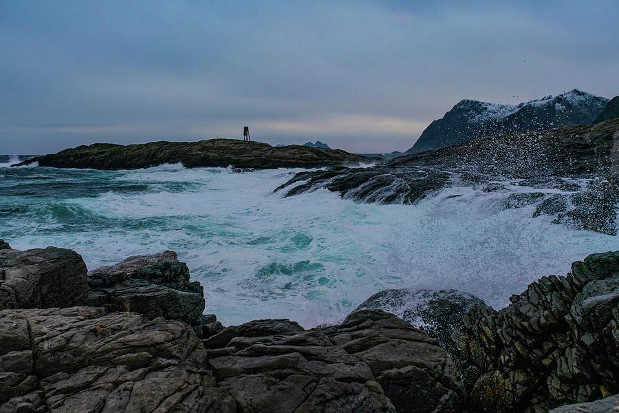 Sea Photograph - Storm At The Norwegian Coastline by Kai Mueller