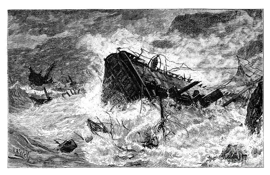 Storm, Balaclava, Ukraine, C1888 Drawing by Print Collector
