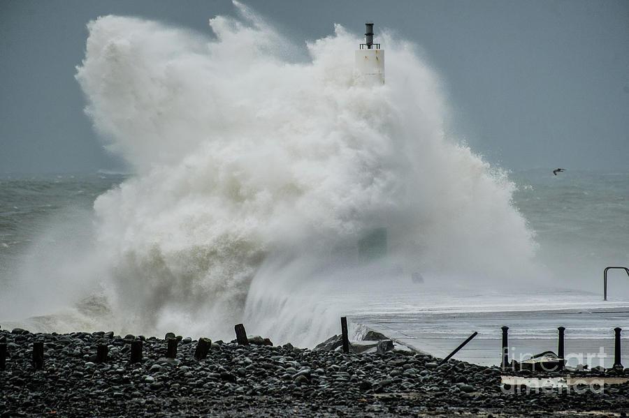 Aberystwyth Photograph - Storm Brian Hitting Aberystwyth Lighthouse by Keith Morris
