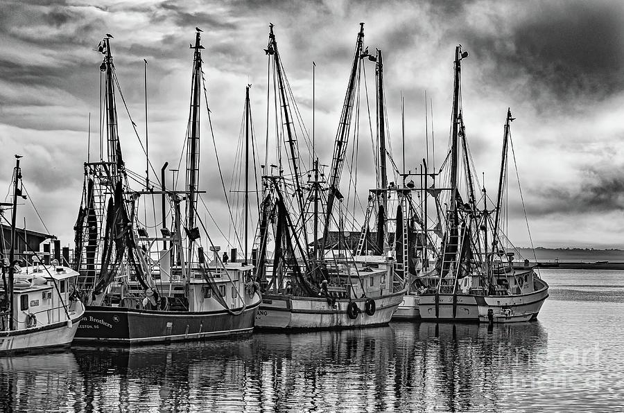 Storm Clouds - Shem Creek - Shrimp Boats Photograph