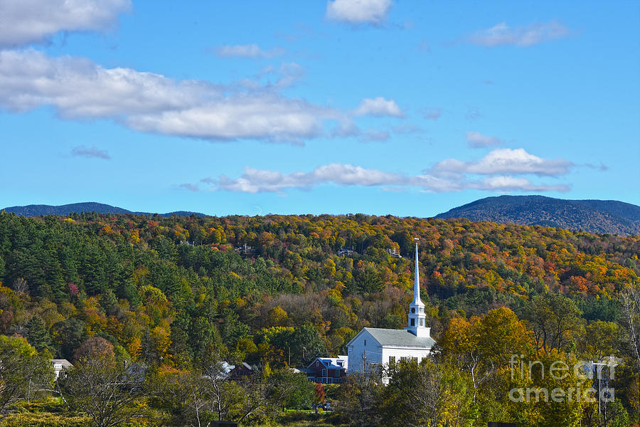 Stowe Community Church In Autumn Photograph