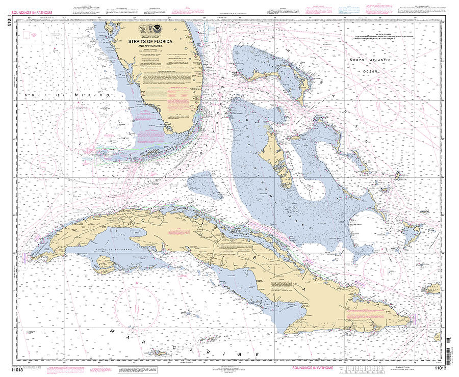 Straits of Florida Nautical Chart 11013 by Paul and Janice Russell