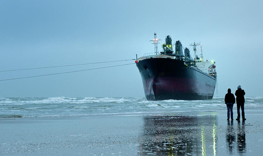 Stranded Empty Container Ship On Beach Photograph by Pidjoe