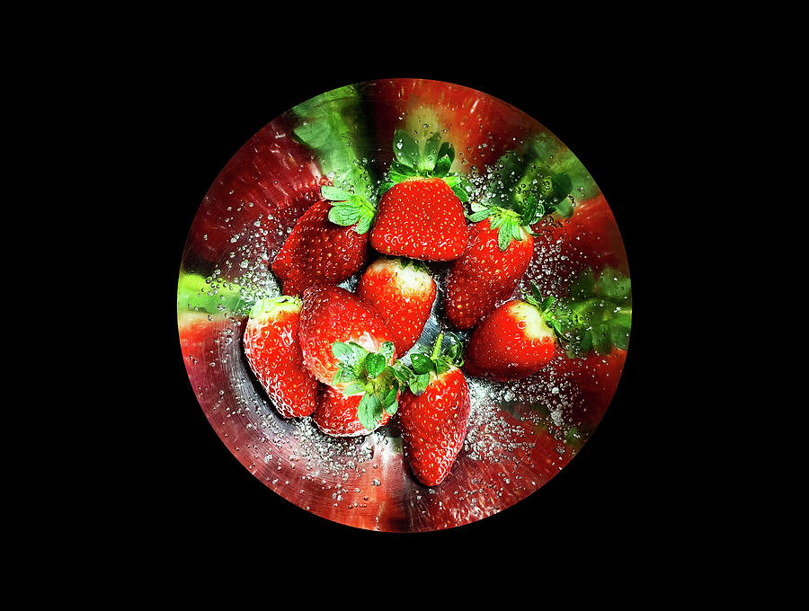 Strawberries with sugar on a round tray by Michael Goyberg