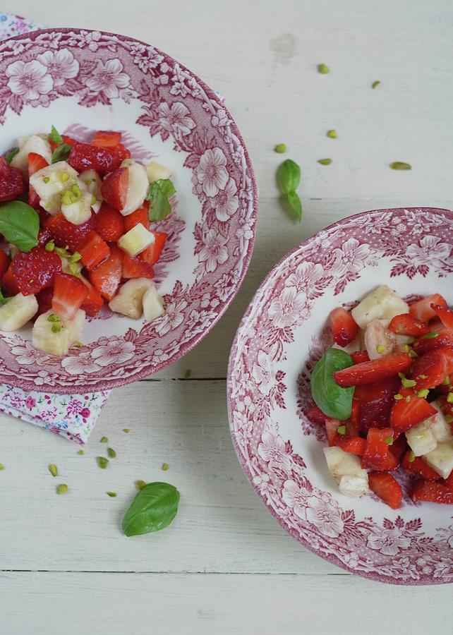 Strawberry-banana Salad With Basil Photograph by Adel Hegedus