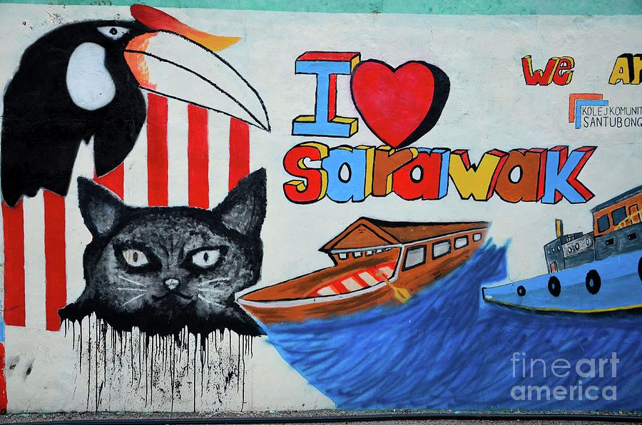 Street art graffiti with cat hornbill bird boats I love Sarawak Kuching Malaysia by Imran Ahmed