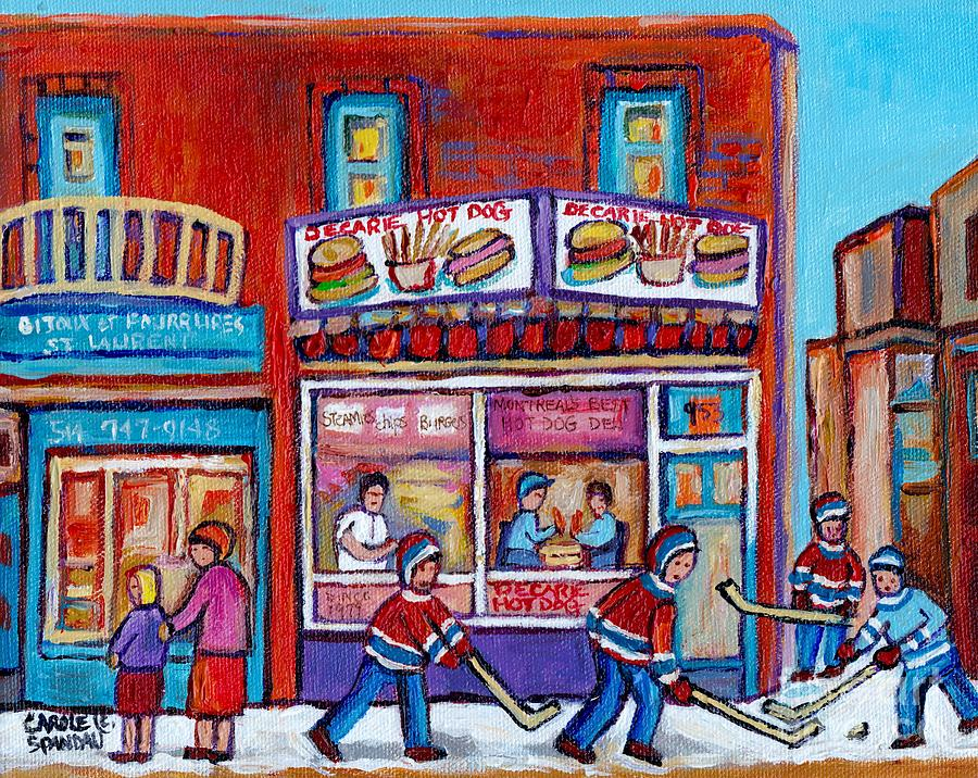 STREET HOCKEY GAME NEAR DECARIE HOT DOG VILLE ST LAURENT MONTREAL WINTER SCENE PAINTING C SPANDAU by CAROLE SPANDAU