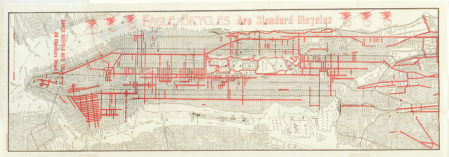 Street Map Of Manhattan New York.Street Map Of Manhattan And The Bronx By The New York Historical Society
