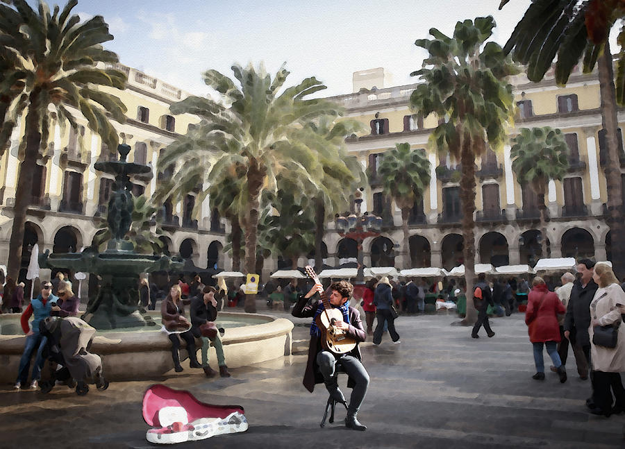 Street Music. Guitar. Barcelona, Plaza Real. by Alex Mir