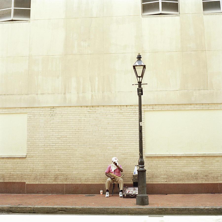 Street Musician Taking A Break, New Photograph by Julia Christe