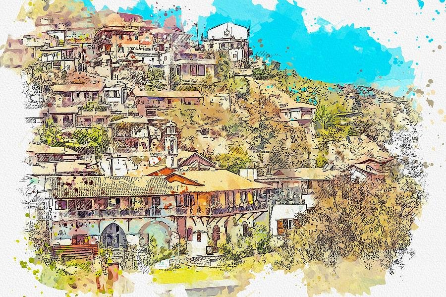 Nature Painting - Street Of Kalopanayiotis In Cyprus 6 Watercolor By Ahmet Asar by Ahmet Asar