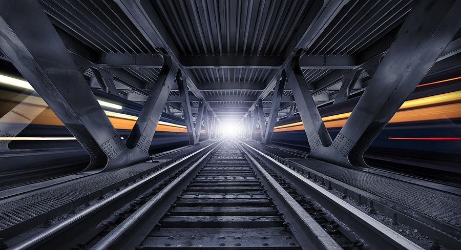 Train Photograph - Street Of Night Trains by Alexander Karman