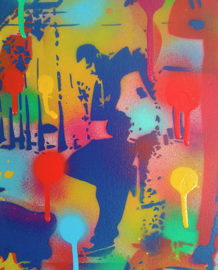 People Mixed Media - Street Scene 1 by Abstract Graffiti