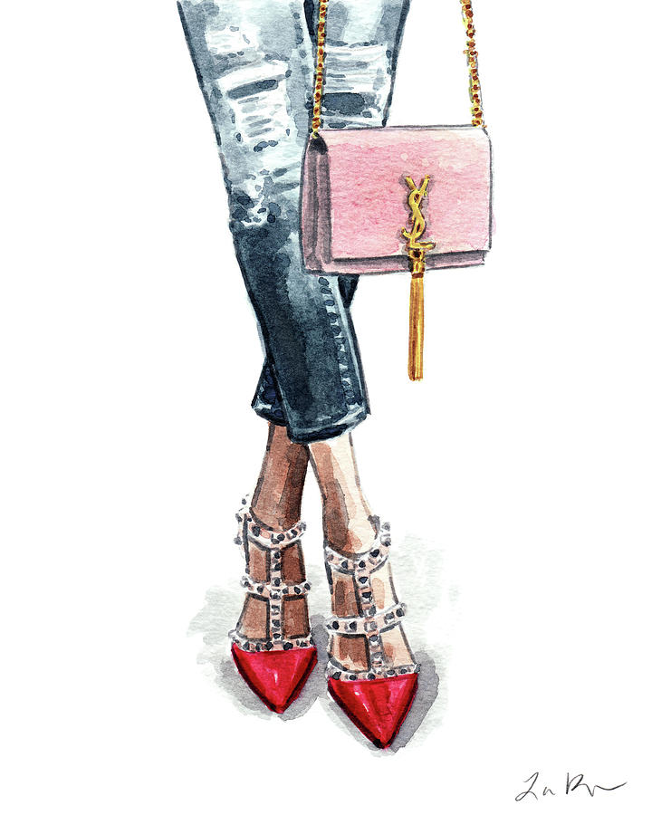 Street Style Painting - Street Style Ootd Valentino And Ysl by Laura Row