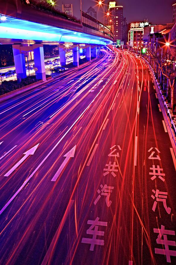 Street Traffic At Night, Shanghai, China Photograph by William Yu Photography