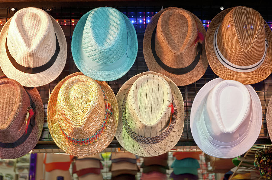 Street Vendors Summer Hat Display Photograph by Travelif
